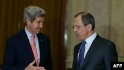 U.S. Secretary of State John Kerry (left) at a January meeting with Russian Foreign Minister Sergei Lavrov