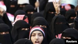 Yemen -- Women attend an anti-government demonstration in the southern city of Taiz, 12Apr2011
