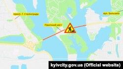 Мапа ремонтних робіт, опубліковав комунальною корпорацією «Київавтодор»