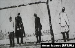Повешенные участники восстания против царских властей на территории нынешней Киргизии, 1916 год
