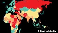 در این گزارش کشورها از نظر شاخص صلح به چهار قسمت دستهبندی شدهاند: سبز، زرد، نارنجی و قرمز