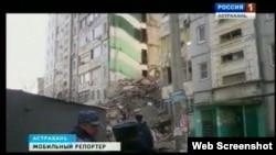 Кадр відеосюжету з Астрахані після вибуху газу 27 лютого 2012 року