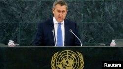 Андрей Дещица на трибуне ООН