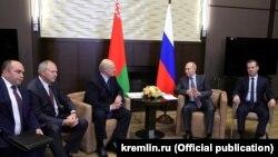 Ресей мен Беларусь президенттері және үкімет жетекшілерінің кездесуі. Сочи, 21 қыркүйек 2018 жыл.