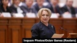 Premierul Viorica Dancilă în Parlamentul de la București, 29 ianuarie 2018.