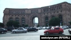 Armenia -- The Ministry of Transport and Communications building in Yerevan's Republic Square, 7Oct2016