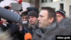 Aleksei Navalny speaks after his sentencing on December 30 in Moscow.