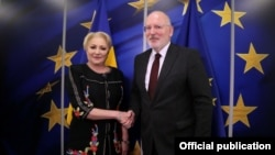 European Commission First Vice President Frans Timmermans (right) said he had spoken several times with Romanian Prime Minister Viorica Dancila in the past two months.
