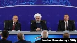 نشست ولادیمیر پوتین، حسن روحانی و الهام علیاف در ایران در سال ۹۶