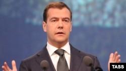 Russian President Dmitry Medvedev speaks at the International Economic Forum.