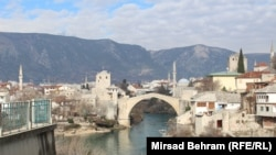 The Old Bridge that connects Mostar's chiefly Croat and Bosniak parts of the city.