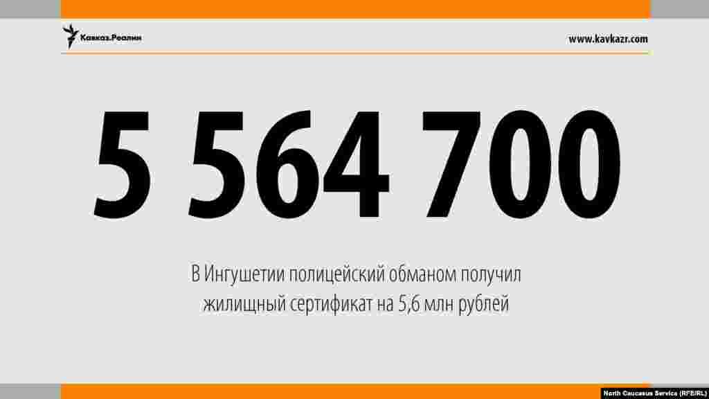 17.08.2017 //Полицейский обманом получил жилищный сертификат в Ингушетии размером в 5,6 млн рублей