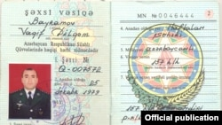Nagorno Karabakh - A photo of what the Karabakh army described as an ID document of an Azerbaijani army officer killed during a commando raid on its positions, 7 April, 2016