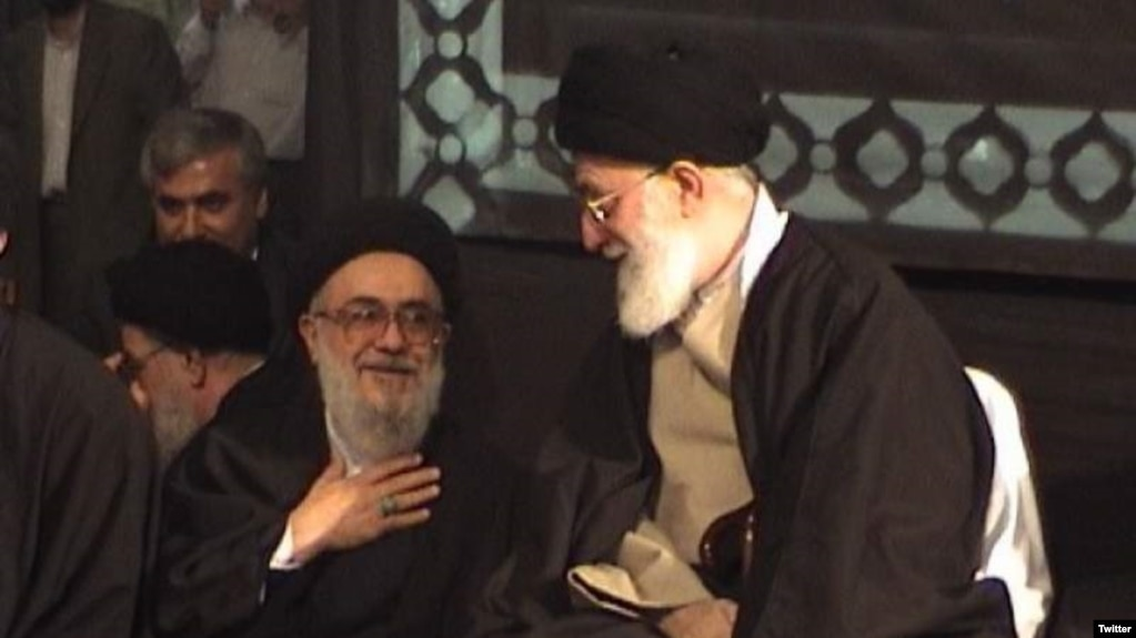 Reformist cleric Ayatollah Seyyed Mohammad Mousavi Khoeiniha (L) with Supreme Leader Ali Khamenei. Undated photo.