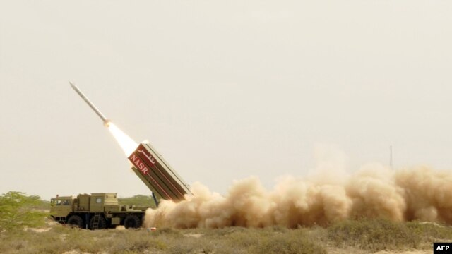 A short-range nuclear-capable ballistic missile is launched from an undisclosed location in Pakistan.