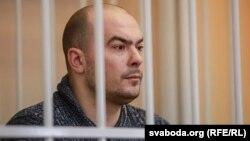 Арцём Бародзіч, актор Купалаўскага тэатру, у судзе 2 сакавіка.
