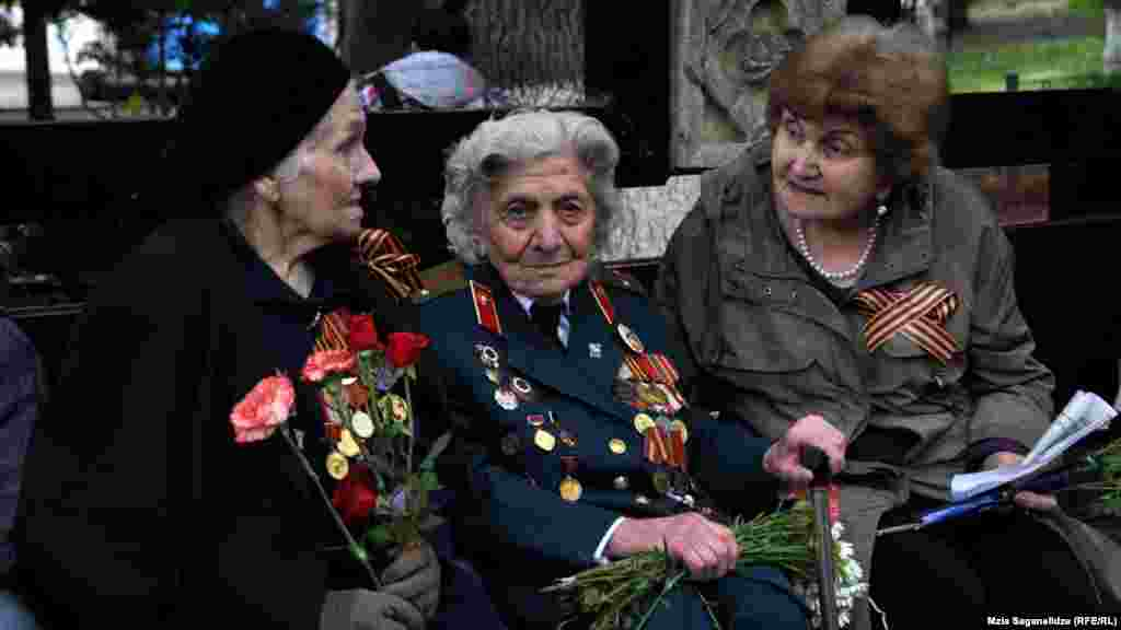 WWII veterans attend the commemorations in Vake Park in the Georgian capital, Tbilisi.