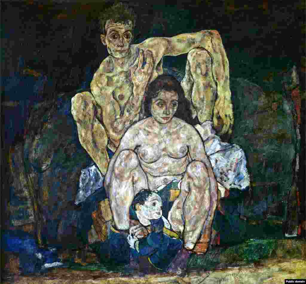 Ужасната човешка цена на огнището е обезсмъртена в тази картина на австрийския художник Егон Шиле. Семейството, нарисувано през 1918 г., изобразява Шиле, който гордо гледа над съпругата си Едит и малко дете. В действителност Едит е заразена и умира от грип, докато е бременна в 6-ия месец, на 28 октомври 1918 г. Три дни по-късно Шиле също се предава на вируса. Той е бил на 28 години.