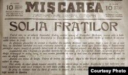 """Ziarul """"Mișcarea"""", Iași (Sursă: Centrul de Cultură și Istorie Militară, Chișinău)"""