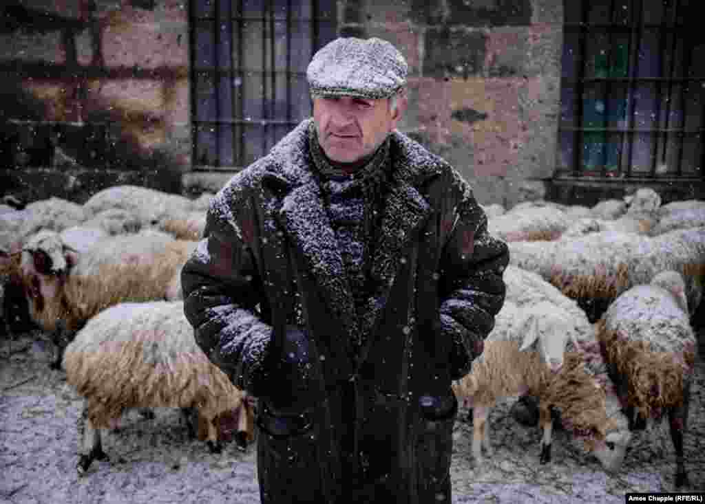 "Samvel ""The Bear"" Melkonian, who sells sheep on the road leading to the Russian base. ""Those murders hurt all of us, but we can't judge all the Russians by one crazy soldier. I can tell you now if the Russian Army pulled out of here, there'd be a Turkish flag flying over this town within the week,"" Melkonian says. ""Azerbaijan and Turkey would come at us from both sides. We see the Russian soldiers come past here every day; they're OK lads. The only thing I have against them is they hardly ever buy our sheep!"""