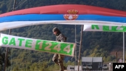 A French KFOR soldier patrols at the Serbia-Kosovo border crossing of Brnjak