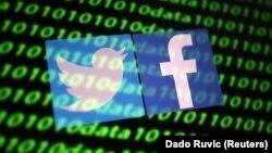 Logo e rrjeteve sociale Twitter dhe Facebook