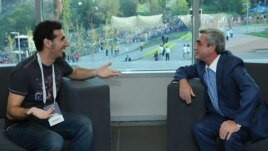 Armenia - Serzh Sarkisian, President of Armenia, meets with world known rock-star Serj Tankian, Yerevan,14Aug,2011