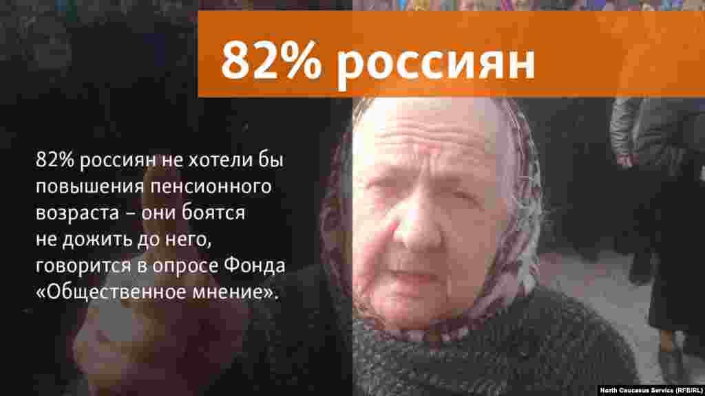"""06.06.2018 //82% россиян не хотели бы повышения пенсионного возраста – они боятся не дожить до него, говорится в опросе Фонда """"Общественное мнение""""."""