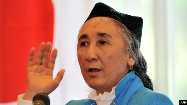 The exiled president of the World Uyghur Congress, Rebiya Kadeer, delivers the opening speech at the 4th World Uighur Congress in Tokyo on May 14.