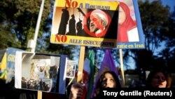 Митинг под посольсством Ирана в Риме. 2 января 2018 года