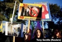 Акція протесту проти чинного президента Ірану Рухані біля іранського посольства. Рим, 2 січня 2018 року