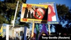 Protesta kundër presidentit iranian Hassan Rohani në Romë