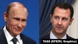Президент Сирії Башар Асад (п) і його російський колега Володимир Путін