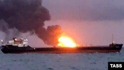 Пожар на танкере у берегов Крыма. 21 января 2019 года
