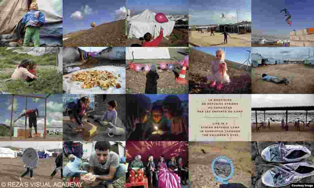 عکس از شاگردان پناهنده سوری رضا دقتی؛ (Reza's visual academy)، نمایشگاه «رویای انسانیت» در پاریس