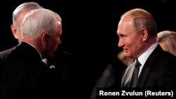 Майк Пенс и Владимир Путин на форуме памяти жертв Холокоста, Иерусалим, 23 января 2020 года