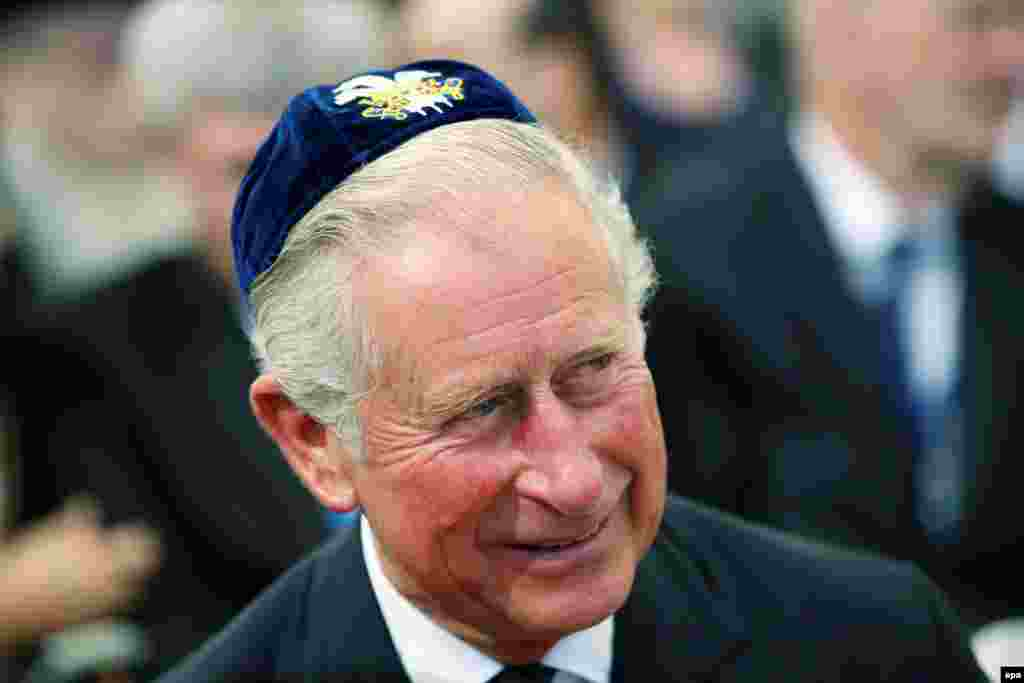 Наследник британского престола принц Чарльз на похоронах Шимона Переса. 30 сентября 2016 года.