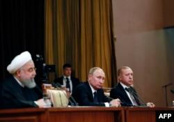Hassan Rouhani, Vladimir Putin i Recep Tayyip Erdogan u Sočiju, februar 2019.