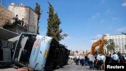Շրջված ավտոբուս Երուսաղեմում: 4-ը օգոստոսի, 2014 թ․