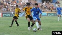 مباراة بين فريقي أربيل والنجف في ملعب الشعب الدولي ببغداد