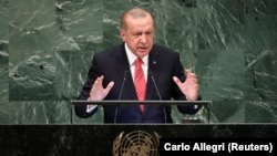 U.S. -- Turkey's President Recep Tayyip Erdogan addresses the 73rd session of the United Nations General Assembly at U.N. headquarters in New York, U.S., September 25, 2018