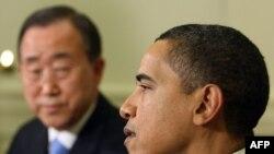 باراک اوباما رییسجمهوری ایالات متحده و بان کی مون دبیر کل سازمان ملل متحد