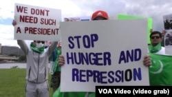 Türkmen protestçileri. ABŞ. Pitsburg, iýun, 2020