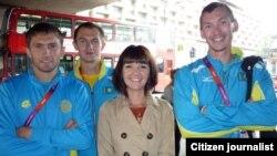 Әлфия Әхмәтова Казакъстаннан килгән спортчылар белән