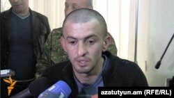 Armenia - Arsen Khojoyan, a resident of Verin Karmiraghbyur border village, speaks to journalists in Yerevan after being freed by Azerbaijan, 10Apr2014.