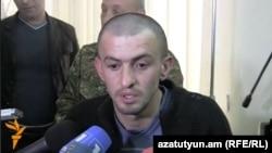 Armenia - Arsen Khojoyan, a resident of Verin Karmiraghbyur border village, speaks to journalists in Yerevan after being freed by Azerbaijan, 10Apr2014.