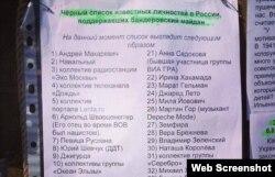 Сарапшы Сергей Марков құрастырып, Facebook-те жариялаған «сатқындар» тізімі.