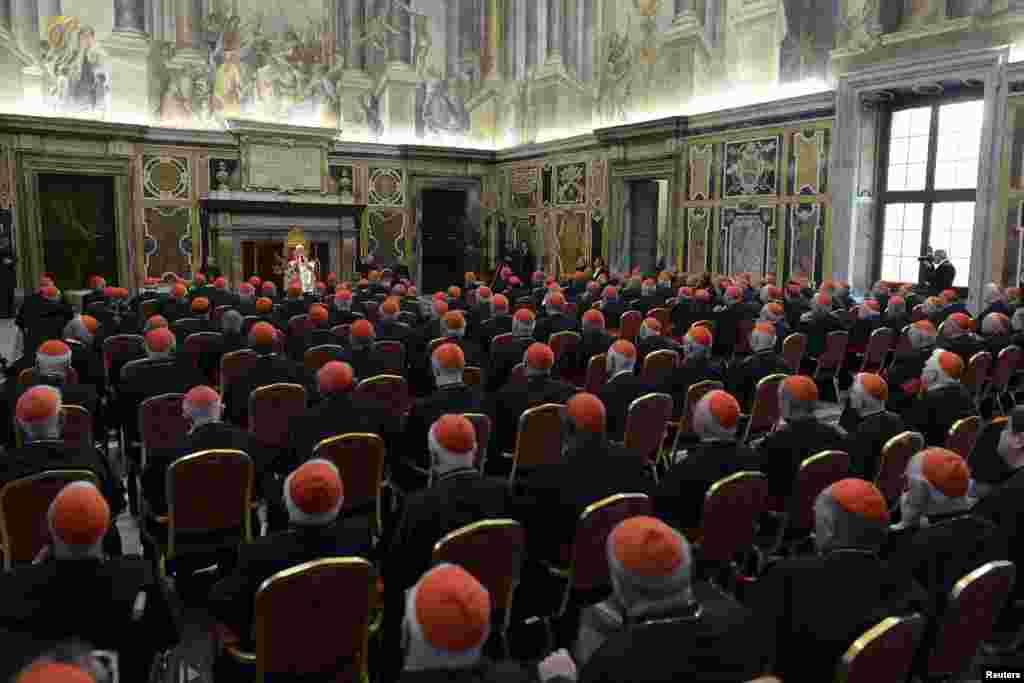 В Коллегии кардиналов в марте 2013 года числились 207 иерархов, из них лишь 117 кардиналов из 49 стран мира имели право принять участие в выборах