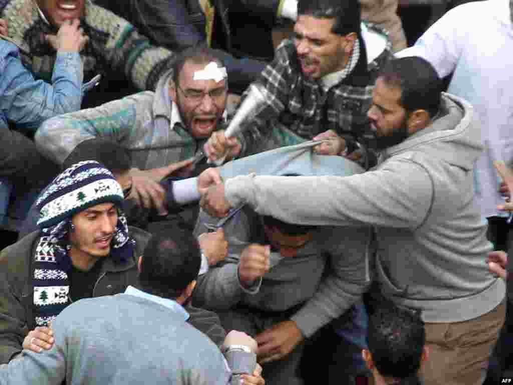 Müxalifətçilər hökümət tərəfdarlarından birini tutublar, 3 fevral 2011 - AFP PHOT0/KHALED DESOUKI