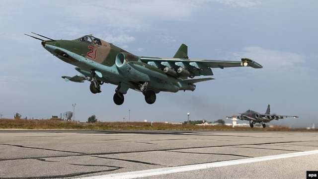 A Russian SU-25 strike fighters takes off from the Syrian Hmeymim airbase, outside Latakia, on October 22. Russian has been pursuing a campaign of air strikes in Syria since September 30.